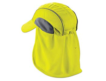 Ergodyne Chill-Its 6650 Absorptive Moisture-Wicking High Visibility Baseball Hat with Neck Shade
